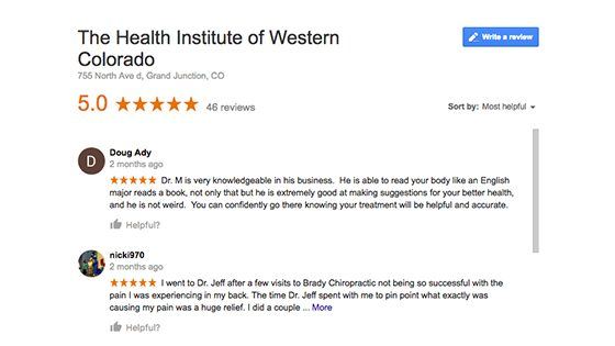 Google Reviews for Health Institute of Western Colorado